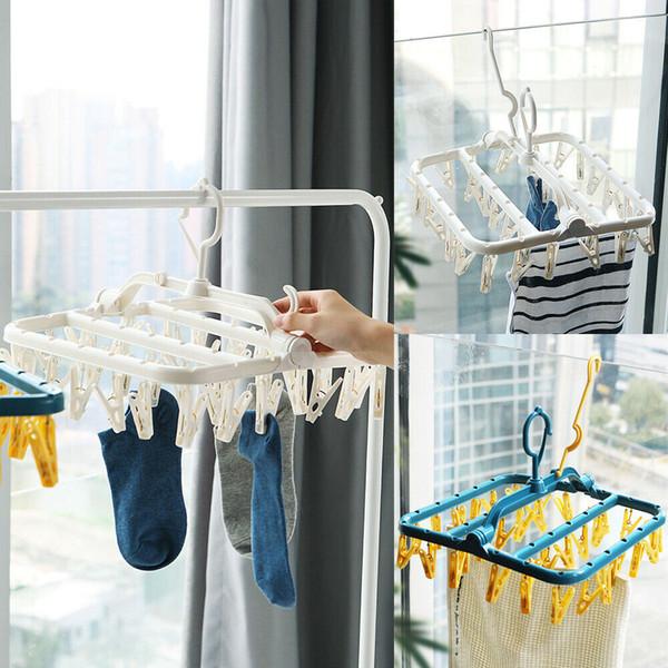 Viajando Roupa Accessary 32 clipes Folding Brasão cabide de plástico Racks Bra Meias Hanger portátil cremalheira Windproof Folding