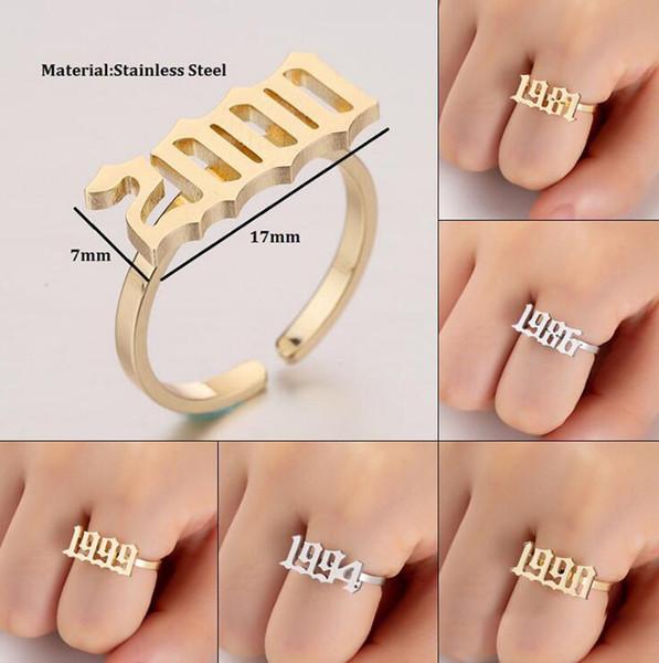 Old English Numero anello per le donne personalizzata Numero Anello Anno 1980 - 2020 di gioielli su misura Anelli Numero anello in acciaio inox Anelli di oro