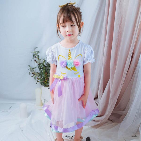 5129c6c4a2 Unicorn Girls Princess Dresses 2019 nuevo Verano para niños diseñador niñas  vestidos florales niñas niños boutique