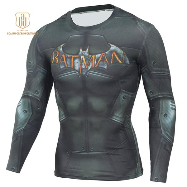 Outdoor Sportswear High Elastic New Batman Round Collar Quick Dry Breathable Clothes Men Sports Long Sleeved Activewear T-shirts