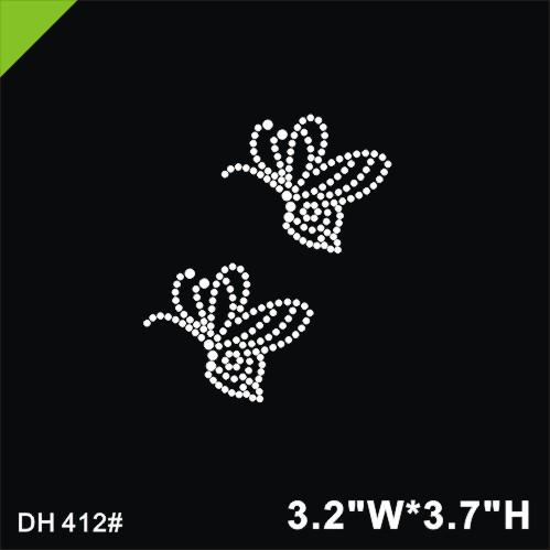 Free shipping crystal Hot fix heat transfer rhinestone motif butterfly Rhinestone Transfers DIY DH412#