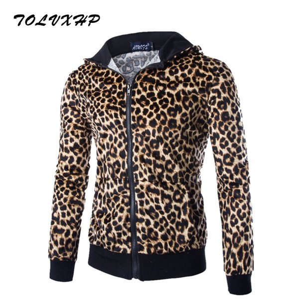 2018 New Fashion Hoodies Brand Men Leopard Zipper Sweatshirt Male Men'S Sportswear Hoody Hip Hop Autumn Winter Hoodie XXL903