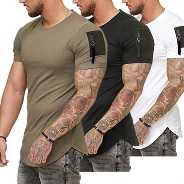 Big lazy cat Short Sleeve Swag Hem Men Summer Tee Shirt Slim Fit Men Streetwear Tshirt Sleeve Zipper Design Tops Tee Men Clothes