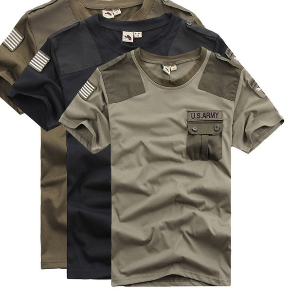 Idopy Estate Uomo Us Army Patchwork Tasche T-Shirt Quick Dry Combattimento Militare Stile Magliette Tees Per Cool Men J190618