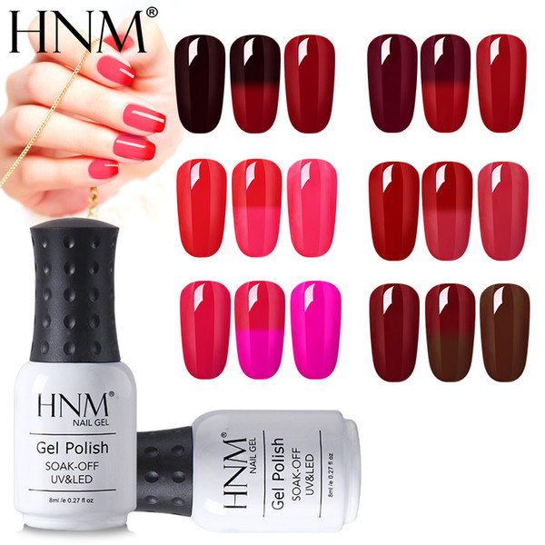Hnm 8ml Wine Red Color Change Soak Off Gelpolish Thermal Nail Polish Semi Permanent Hybrid Varnish Stamping Enamel Nail Polish Sets Pink Nail Polish