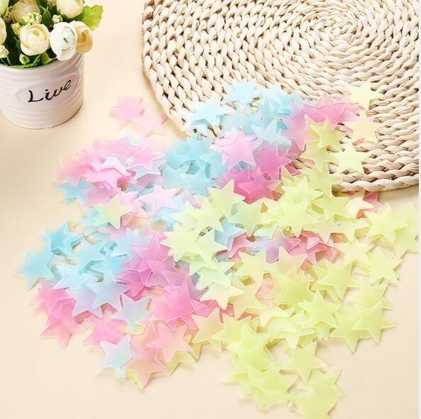 3cm Star Wall Stickers Stereo Plastic Fluorescent Paster Glowing In The Dark Decals For Baby Room