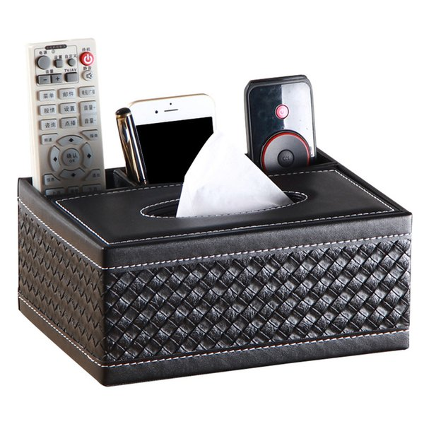 1pc PU Leather Desktop Organizer Durable Multifunctional Remote Holder Tissue Box Pencil Holder For Office Home Car Storage