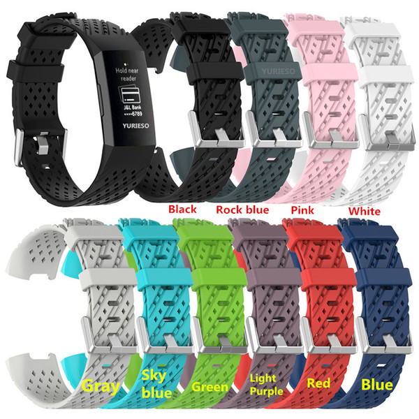 Silicone Wristband Strap for Fitbit Charge 3 Fitness Activity Tracker Smartwatch Sports Watch Strap Band Small Large
