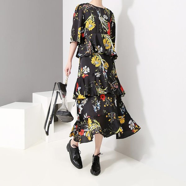 New 2019 Korean Style Women Summer Black Long Floral Dress Half Sleeve A-Line Flowers Printed Female Cute Dress Robe Femme F259