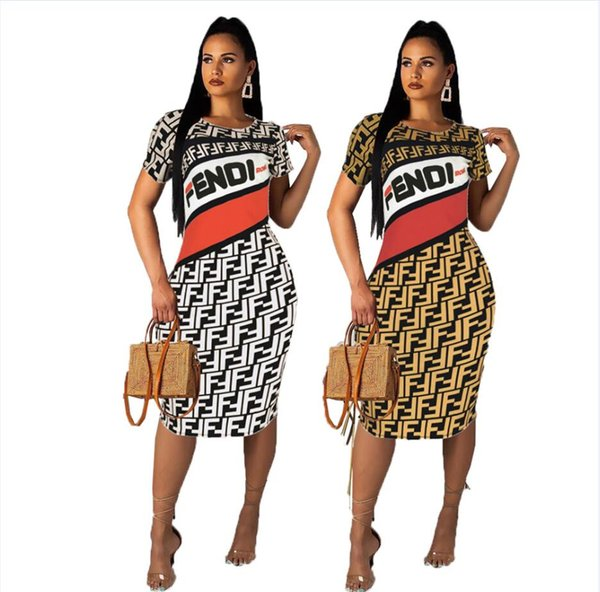 Vestido 2019 europa e américa roupas femininas f carta impressão dress moda sexy slim fit mid saia novo estilo atacado