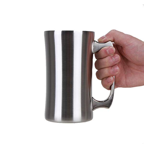 560ml/20oz Stainless Steel Beer Mug with Handle Double Wall Vacuum Insulated Big Capacity Beer Cup for Bar Cocktail Cold Cup Tea Coffee Mug