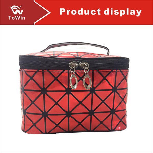 High Quality Women Cosmetic Bags Organizer Luxury Geometric Pattern Makeup Bag Designer Make Up Bag Fashion Lady Travel Storage Case