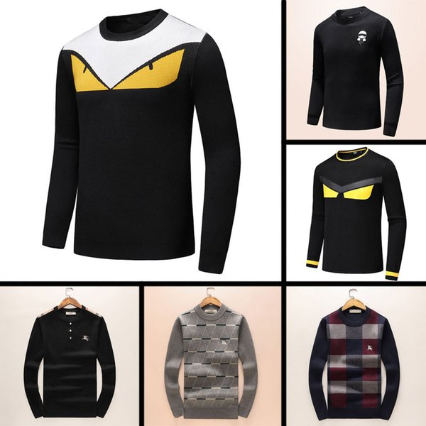 top popular 2019 Newest Latest Designer Autumn Winter Mens Sweater classic Fashion Pullover Men Brand Crew Neck Clothing high quality with 5 size ce 2019