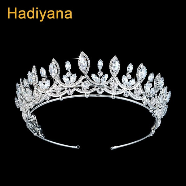 Hadiyana Gorgeous Sparkling Big Zincons Bride Hair Jewelry Accessories Crown Fashion Women Pageant Tiara Crowns Wholesale BC3397 C18122501