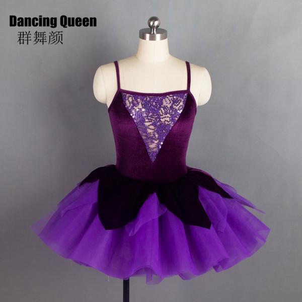 18564 Purple Velvet und Pailletten Mieder Ballett-Tutu Langes romantisches Ballettkleid für Ballerina Tanzkostüme für Frauen Mädchen
