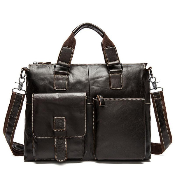 Genuine Leather Men&s Briefcase Business Bag Black Male Office Work Laptop Bags Men Travel Bag Brief Case Portfolio Bostanten