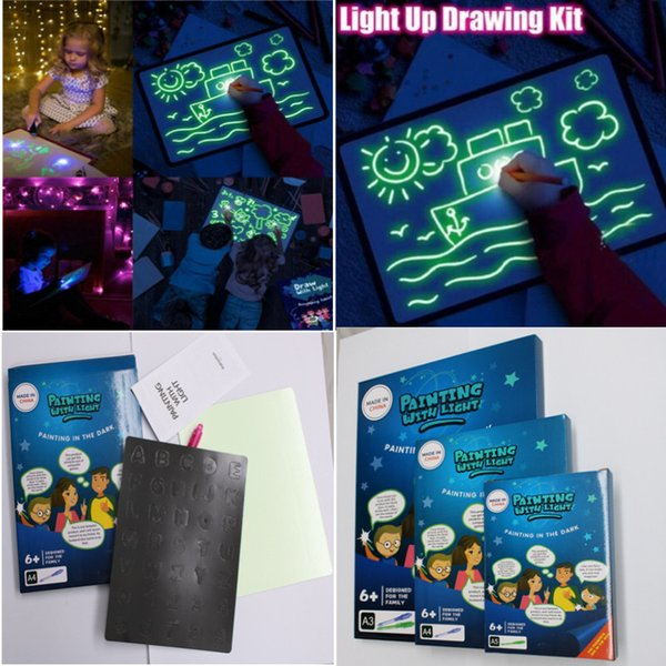 best selling 3D luminous board fluorescent painting board children's luminous magic writing graffiti board Kids Draw Fun And Developing Draw toy free TNT