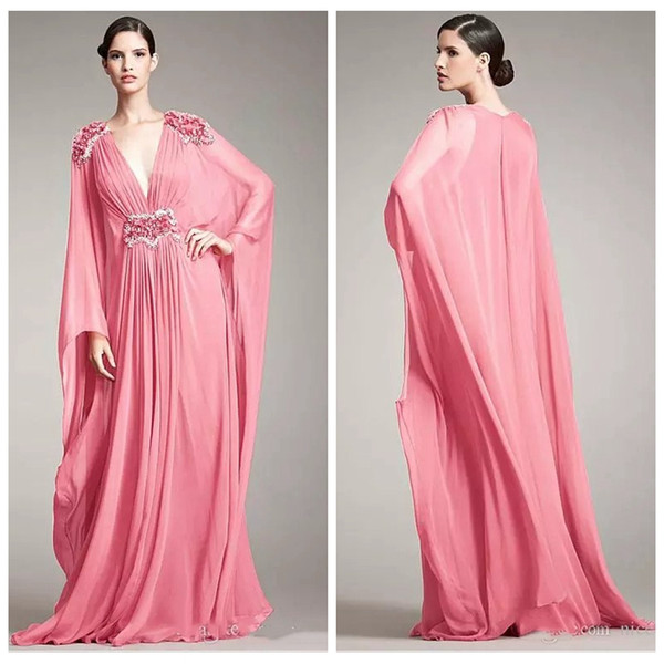 V-Neck Long Sleeves Chiffon A-Line 2019 Evening Dresses Beaded Pleated Sweep Train Long Ladies Prom Party Gowns Formal Vestidos De Soiree