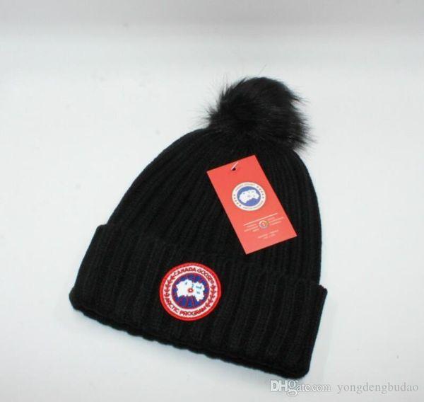 2019 GOOSE nuovo inverno caldo di qualità del cappello del Beanie cappello a maglia branelli mano gancio cappello caldo Femmina sveglia inverno signore acriliche