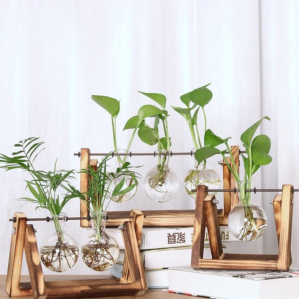 New Transparent Glass Hydroponic Plant Vase with Wooden Frame for Home Desktop Decor Free Shipping W9808