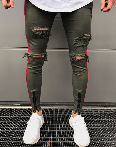 New Mens Skinny Jeans Black Army Zipper Slim Biker Jeans Hip Hop Knee Hole Ripped Denim High -Street Swag Plus Size Pants For Men
