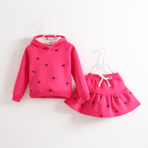 New Autumn Winter Girls Clothing Sets Kids Long Sleeve Stars Printed Hoodies+Skirts 2pcs Children Outfits Cute Girl Suits