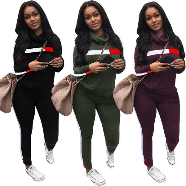 women Turtle Neck hoodie set outfits designer striped sweatshirt leggings sports suit sweat pants two piece tracksuit winter sportswear