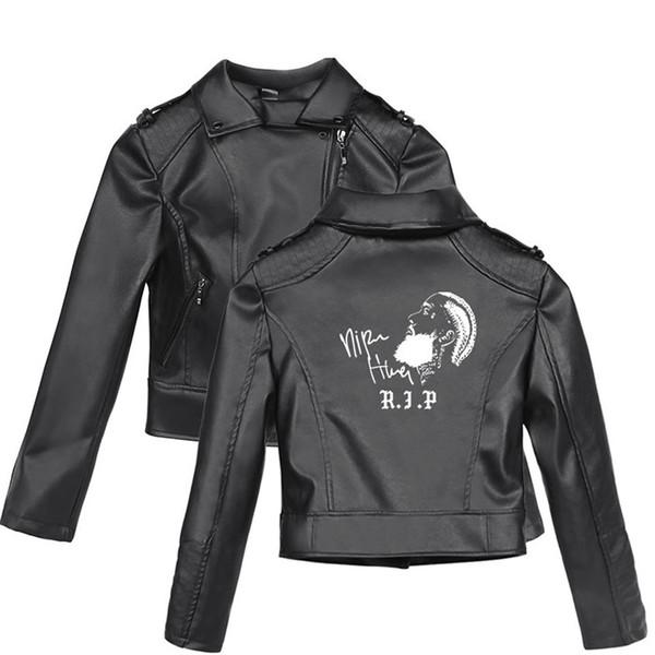 Nipsey Hussle Pattern Print With Zipper Leather Jacket Plus Size Long Sleeve Female Coat Teenager Style