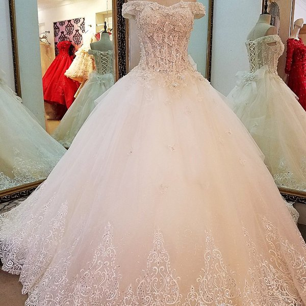 Lace Wedding Dress Simple Ball Gown Lace Up Back Floor Length Wedding Gown 2019 Robe De Mariage Real Photos From China Bridal Gown