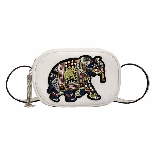 Women Embroidery Elephant Pattern Handbag Shoulder Side Crossbody Bags Pu Leather Handbags Fashion Girls Small Flap Bag
