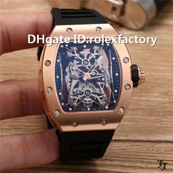 New Luxury 50-27-01 Skeleton Watch Tourbillon Automatic 21600bph Sapphire Titanium Carbon 904L Stainless Steel Case Rubber strap Mens Watch