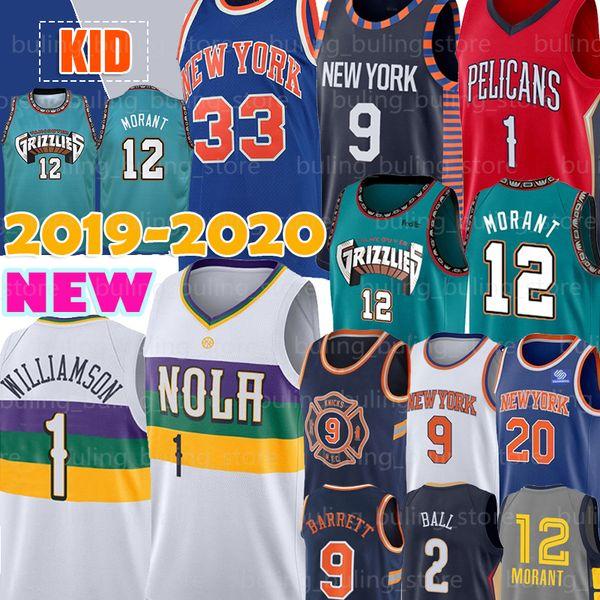 top popular New Orleans 1 Zion Williamson Pelicans Jerseys Memphis 12 Ja Morant Grizzlies Knicks RJ 9 Barrett New York Patrick 33 Ewing Ball Knox 2019