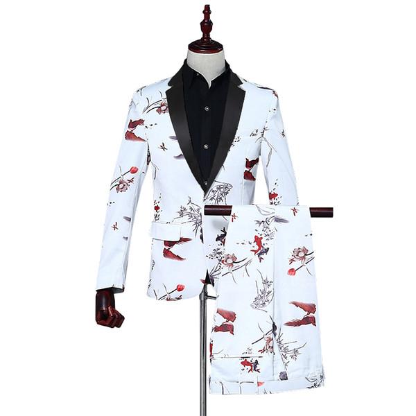 2018 Hombres Novio Traje de Boda Slim Hombres Traje Últimos Abrigos Pantalón Vestido Vestido de Lujo Blazers de Esmoquin 2 Unidades Pantalones de Chaqueta