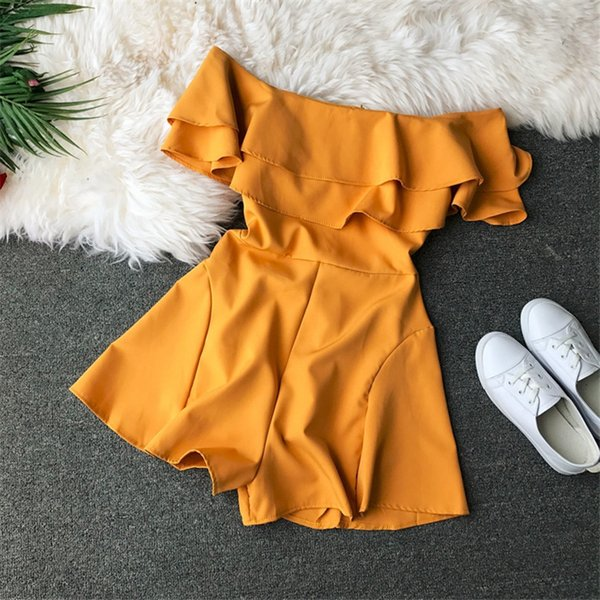 Ruffles Slim 2019 New Fashion Off Shoulder Jumpsuit Casual Sexy Women Bohemian Short Summer Solid Playsuit Beach Holiday Romper Y19060501