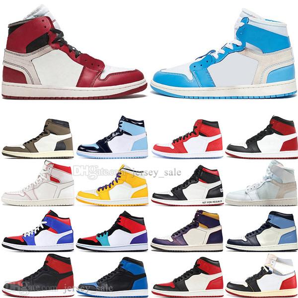 Meninos baratos 1 Alta OG Travis Scotts UNC Homem Aranha sapatos de Basquete Dos Homens 1 s Top 3 Proibido Toe Lakers Homens Esportes Designer de tênis Sneakers formadores
