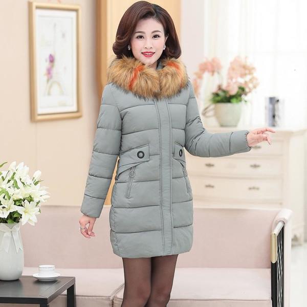 Invierno grande cuello de piel abajo cubre la chaqueta de las mujeres 2019 de la moda caliente de espesor mujeres abrigo parka con capucha largo ropa de algodón gris 5XL T191211 negro
