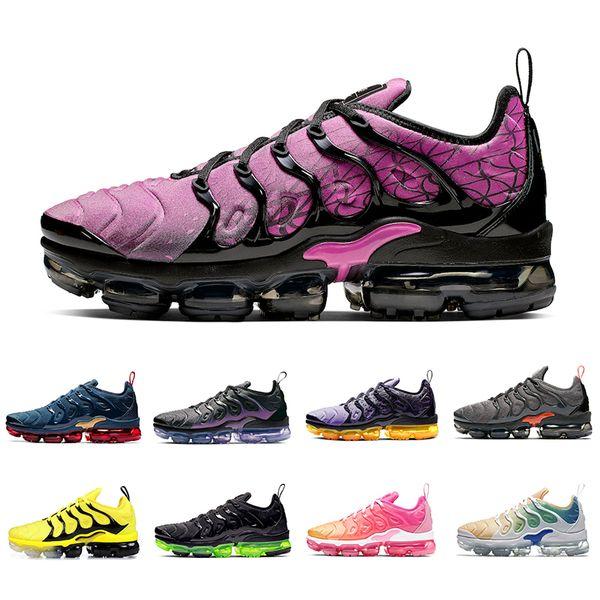 Nike Air vapormax plus tn shoes Barato Ativo Fúcsia Limão Limão Geométrico Preto Plus Men Running Shoes Laser Laranja Megatron Meia Marinha Mens Almofada Esportes Tênis
