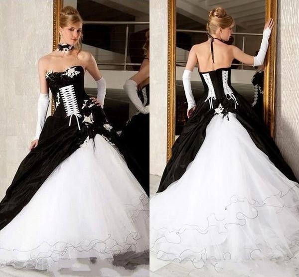 Vestidos de novia vintage en blanco y negro vestidos de novia sin tirantes sin respaldo corsé gótico victoriano más el tamaño de vestidos de novia de la boda BC2445