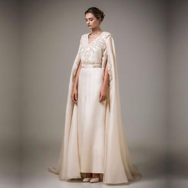 Musulmán largo Kaftan árabe Noche turca Vestido formal con perlas Abrigo Robe de Soiree Madre barata de los vestidos de novia