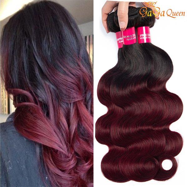 Brasileño Ombre 1B 99J Body Wave Virgin Hair 3 Bundles Borgoña Extensiones de cabello 1B 99j Armadura de cabello humano Gagaqueen