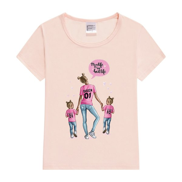 Baskılı Anne Bebek Kız T-Shirt Eşleşen Aile Kıyafetleri Tshirt Yaz 2019 Rahat Anne Kızı Kız Üstleri Kısa Kollu Aile Bak
