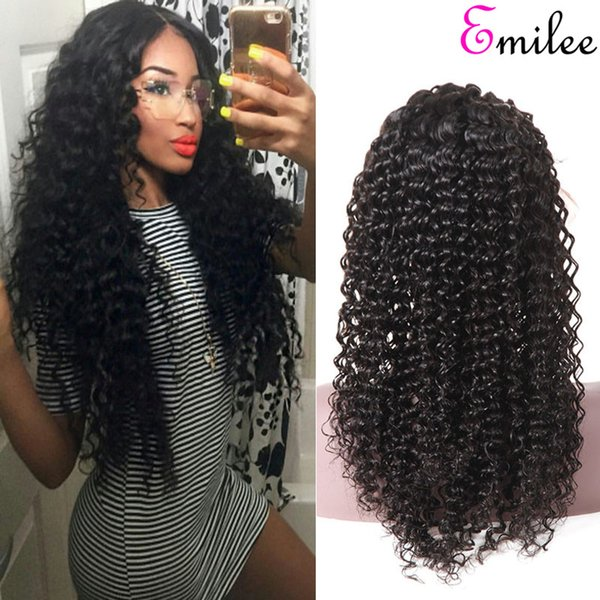 Emilee Deep Wave Hair Wigs 4x4 Pre Plucked With Baby Hair Malaysian Remy Hair Wigs 150 Density High Ratio Virgin Hair Wigs Mens Wigs From Emileehair