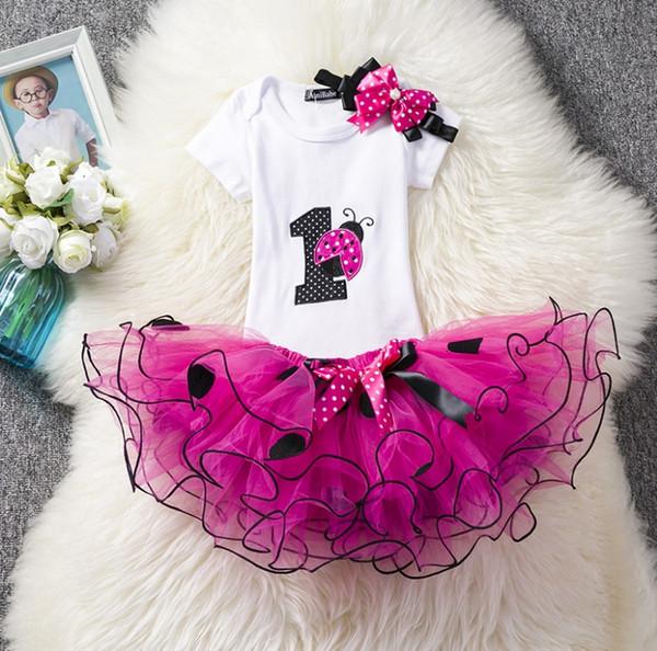Hotsale Baby girl Birthday Outfits Clothing set Ladybug Dots Tutu skirt Summer Romper Short sleeve Headband 3pcs/set Pink Rose 2019