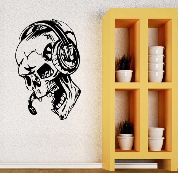Gamer Wall Stickers Skull Music Headphones Wall Decal Video Game Style Home Boys Room Decoration Removable Gamer Wallpaper