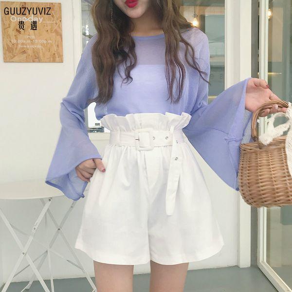 GUUZYUVIZ Women Shorts 2018 Summer Casual Vintage Ruffles Belt Wide Legs Shorts For Women Loose Harajuk Chic White