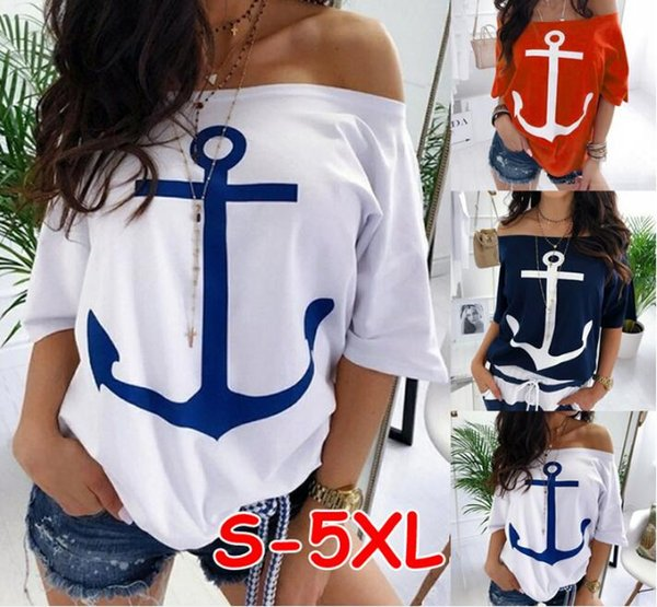 2019 Summer Women's Off Shoulder 3/4 Batwing Sleeve T-Shirt Tops Plus Size Anchors Print Sexy TShirt Female Loose TShirts Woman