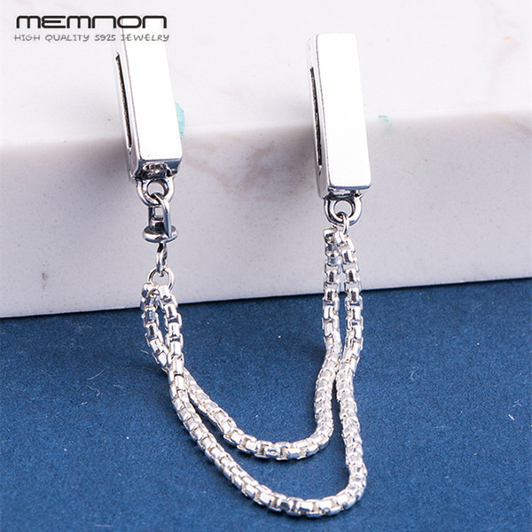 Reflexions safety chain Charms Wedding Jewelry 925 sterling Silver charm beads fit bead bracelets DIY for women Memnon Jewelry
