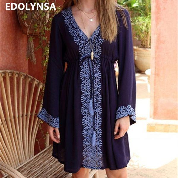 2019 Bohemian Blue Embroidered Cotton Tunic Beach Sexy V-neck Long Sleeve Tassel Women Beachwear Loose Summer Dress N684 C19041101