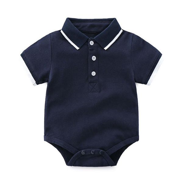 Everweekend Cute Toddler Baby Boys Mamelucos Candy Color azul y blanco Verano Moda occidental Ropa