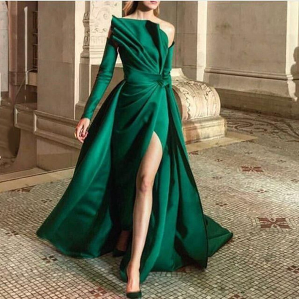 Dark Green Sheath Evening Prom Dresses Bateau Long Sleeve With Side Split Datin Court Train Formal Party Gowns 2019 New